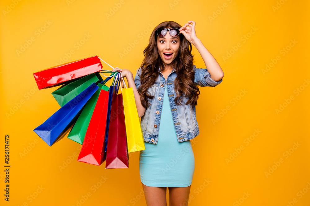 Fototapeta Close up photo beautiful her she lady yell scream shout new staff shopping spree excited big choice choose wear specs blue teal green short dress jeans denim jacket clothes isolated yellow background