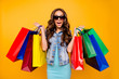 canvas print picture Close up photo beautiful her she lady yell scream shout enjoy new staff shopping spree excited low prices wear specs blue teal green short dress jeans denim jacket clothes isolated yellow background