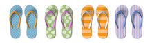Set Of Colored Flip Flops With Different Patterns - Summer, Beach Slippers