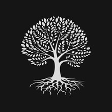 Tree Silhouette With Root , Logo Design Template