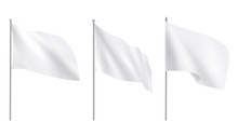 Realistic White Advertising Textile Flags, Various Clean Empty White Mockup