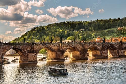 Photo sur Toile Con. Antique Charles bridge arch. Bridge across Vltava in Prague. Czech republic. European medieval architecture.