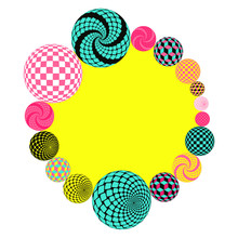 Fantasy Circular Frame With Geometric Beads In Pop Colors