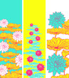 floral bookmarks with lotus pattern in bright yellow pink