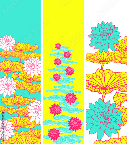floral bookmarks with lotus pattern in bright yellow pink - 256176237