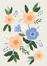 Baby Pink And  Blue Floral Illustration