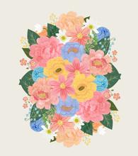 Colorful Flower Cluster Illust...