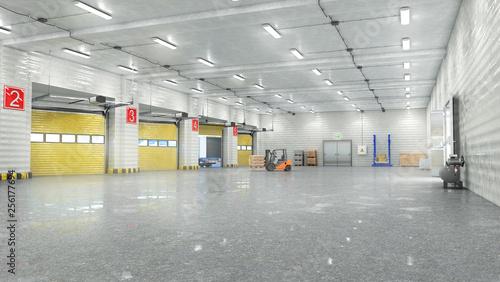 Obraz Hangar interior with gates. 3d illustration - fototapety do salonu