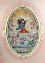 Assumption Of The Virgin Mary, Fresco In The Parish Church Of St. Pelagius, Was Until 1828 Cathedral Of The Diocese Of Cittanova, Novigrad, Croatia