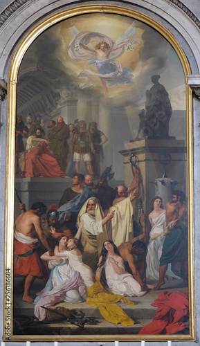 Fotografie, Obraz  Martyrdom of the Saints of Aquileia by Ludovico Lipparini, altarpiece in the chu