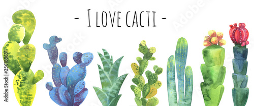 Poster Printemps Cacti watercolor collection set. Cacti isolated on white. Cacti banner for scrapbooking etc. Florishing cactus, blue cacti, cactus flower.