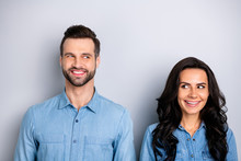 Portrait Of Two Affectionate Pretty Modest Students Workers Meeting Feeling Carefree Positive Isolated Dressed In Blue Denim Outfit On Silver Background
