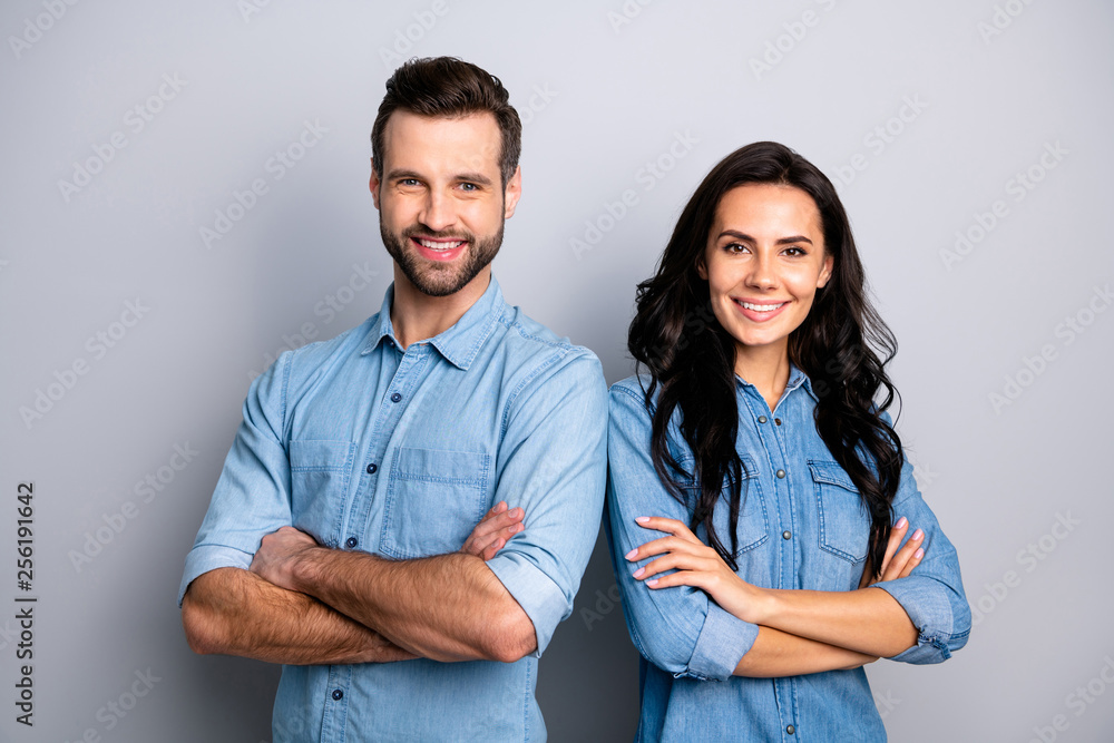 Fototapeta Portrait of charming charismatic freelancers entrepreneurs ready to solve business work problems take decisions. Wearing blue denim jackets isolated on ashy-gray background