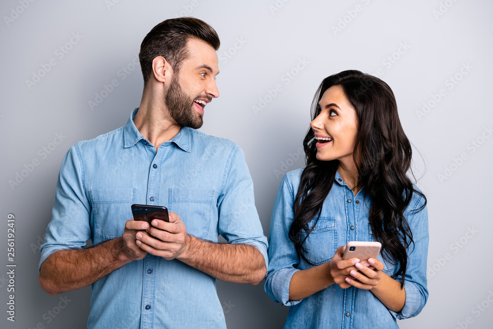 Fototapety, obrazy: Close up photo amazing she her he him his lady guy telephone smart phone hands arms read reader news look interest eyes wear casual jeans denim shirts outfit clothes isolated light grey background