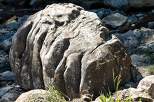 A Boulder Resembling A Monster's Skull On The Rocky Shore Of A Mountain River