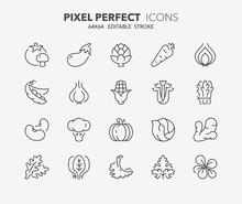 Vegetables Thin Line Icons 1