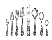 Vintage Art Nouveau Sketch Spoon, Fork, Knife
