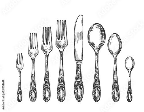 Fotografia Vintage art nouveau sketch spoon, fork, knife