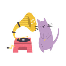 Funny Cat Playing Listening To Phonograph.
