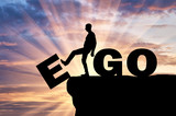 Fototapeta Tęcza - Silhouette of a man gets rid of the ego as a bad habit