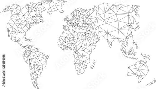 Fototapeta świat low poly, world low poly, mapa,szkic,mesh obraz