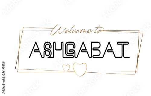 Photo Ashgabat  Welcome to text Neon lettering typography