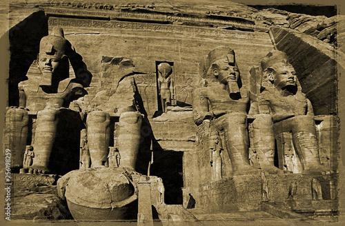 Valokuva  Simulated Victorian photograph of  Abu Simbel , Egypt