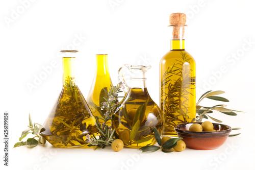 Fototapeta olive oil and branch, bottle composition obraz