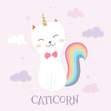 Cute Caticorn And Rainbow On A Pink Sky Background