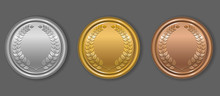 Gold, Silver And Bronze Award Medals With Laurel Wreath. Blank Medals Set. Blank Of Coins. Vector Illustration.