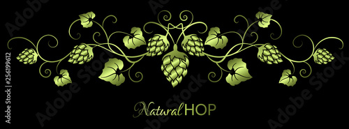 Green horizontal curly garland with hop branches,  leaves and crown on black ...