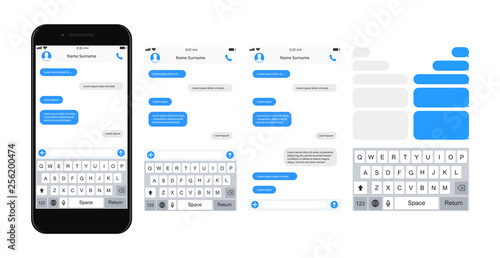Obraz SmartPhone chatting sms template bubbles. SMS chat composer. Place your own text to the message. Phone chatting sms template bubbles. Vector illustration. - fototapety do salonu