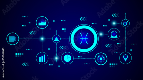 Photo  Zodiac Fish Jupiter icon. From Web set