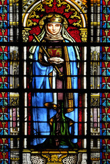 Saint Radegund, stained glass window in the Basilica of Saint Clotilde in Paris, France