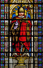 Saint Pope Gregory I, stained glass window in the Basilica of Saint Clotilde in Paris, France