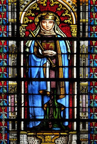 Photo sur Toile Art Studio Saint Radegund, stained glass window in the Basilica of Saint Clotilde in Paris, France