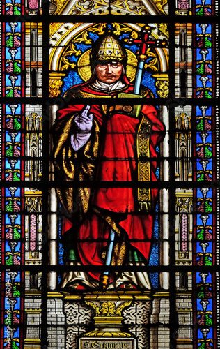 Photo sur Toile Art Studio Saint Pope Gregory I, stained glass window in the Basilica of Saint Clotilde in Paris, France
