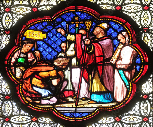 Canvas Prints Stained Baptism of Constantine after his victory over Maxentius, stained glass window in the Basilica of Saint Clotilde in Paris, France