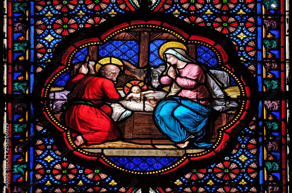 Fototapeta Nativity Scene, stained glass window in the Basilica of Saint Clotilde in Paris, France