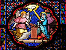 Annunciation Of Mary, Stained Glass Window In The Basilica Of Saint Clotilde In Paris, France