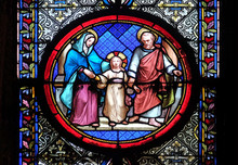 Holy Family, Stained Glass Window In The Basilica Of Saint Clotilde In Paris, France