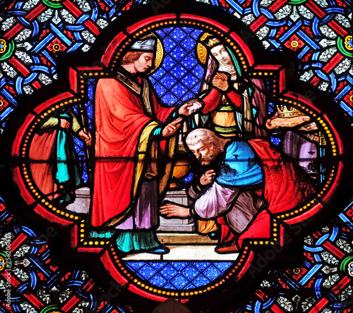 In de dag Stained Baptism of Clovis, first Christian King of France, stained glass window in the Basilica of Saint Clotilde in Paris, France