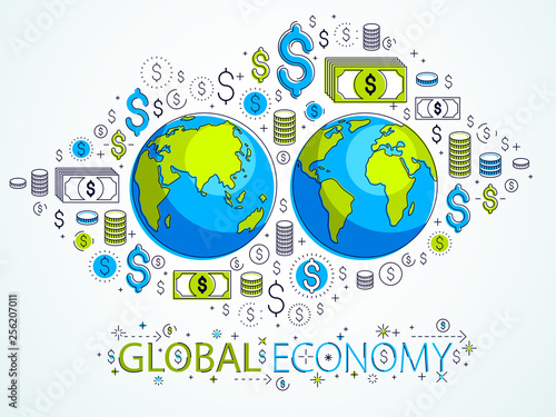 Global economy concept, planet earth with dollar icons set