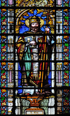 Saint Leo, stained glass window in the Basilica of Saint Clotilde in Paris, France