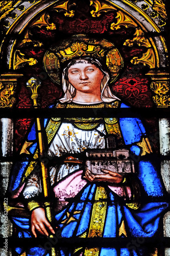 Photo  Saint Matilda, stained glass window in the Basilica of Saint Clotilde in Paris,