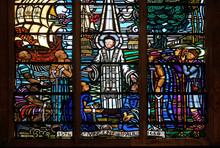 Saint Vincent De Paul, Stained Glass Windows In The Saint Laurent Church, Paris, France
