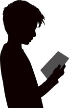 Boy Reading Book, Silhouette V...