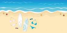 Two Surfboards Bikinis And Sunglasses On The Beach Summer Holiday Design Vector Illustration EPS10