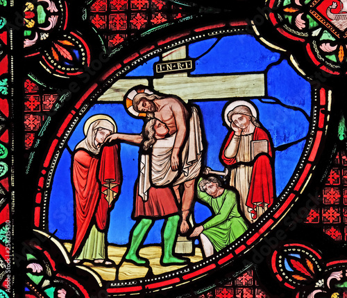 In de dag Stained Deposition from the Cross, stained glass window from Saint Germain-l'Auxerrois church in Paris, France