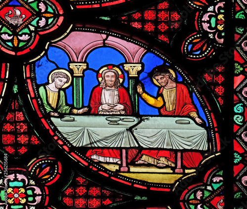 In de dag Stained Supper at Emmaus, stained glass window from Saint Germain l'Auxerrois church in Paris, France